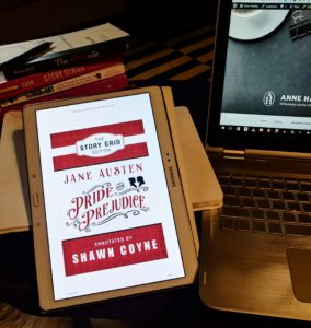 ebook edition of Shawn Coyne's Story Grid Edition of Pride and Prejudice on a tablet
