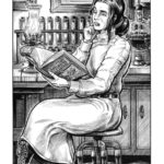 Pen and ink illustration of a 19th century woman doctor, by Chris Kohler